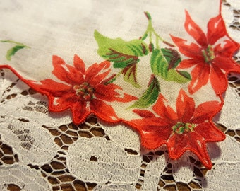 Vintage Cotton Handkerchief with Beautiful Red Poinsettia Print