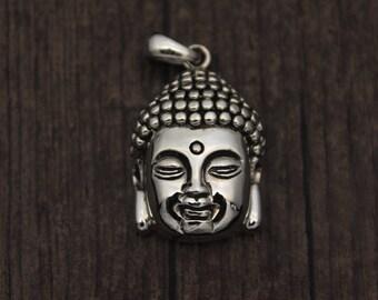Sterling Silver Buddha head pendant,Buddha Charm, Buddha Jewelry