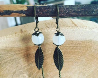 """Pearls in white feather"" earrings"