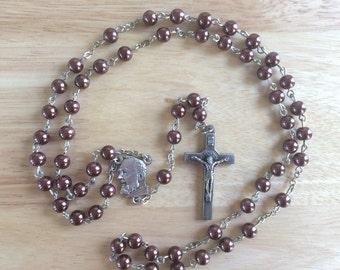 Handmade Catholic Rosary: St. Padre Pio with Brown Glass Pearl Beads