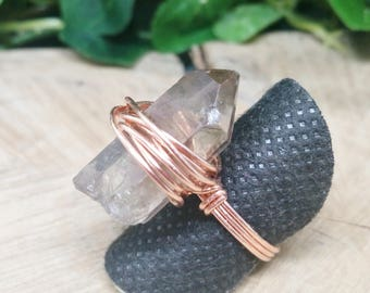 Terminated Smokey Quartz Copper Wire Wrapped Ring