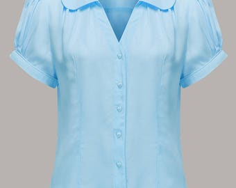 40's Vintage Inspired 'Judy' Blouse in Powder Blue by The Seamstress of Bloomsbury