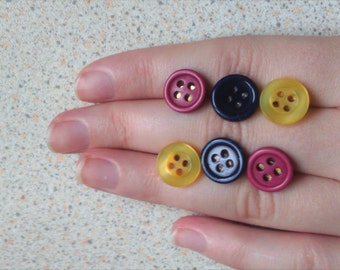 Button Stud Earrings- cute, fun, quirky, adorable, bright, colourful
