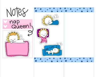 Nap Queen| Sleeping Queen| Sleep Tracker| Nap Tracker| Tired Student| Memo Pad Sticky Note Planner Stickers (M20)