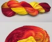 Phoenix Rising | Hand Dyed Yarn | Fire Gradient Yarn | Fingering Weight | Shawl Yarn | Sock Yarn | Aran Yarn
