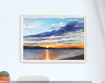 Oil painting original stretched Gift Birthday Valentine's day big Drawing art present landscape sunset sea Croatia framed art