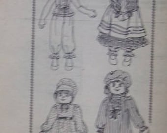"Vintage 25"" Cloth Doll & Wardrobe Pattern Mail Order UNCUT 1960s 5118"