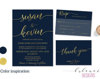 Calligraphy Wedding Invite Suit Modern Digital  Faux Gold Caligraphy Letters Invitation Navy Background Printable Elegant Set -  WS019