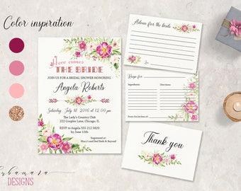 Pink Floral Bridal Shower Invitation Digital Boho Bridal Shower Invite Rose Gold Glitter Printable Peonies Tribal Arrows Summer Card - BS013