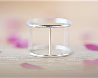 Minimal Ring | Silver Cage Ring | Double Ring