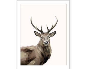 Deer Art Print, Deer Print, Woodland Animals Picture,  Nursery Wall Art, Children's Art, Wall Decor