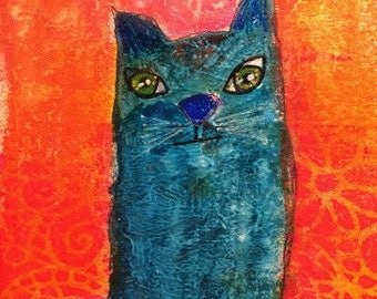 Blue Cat Art Notecards (set of 6 folded cards with envelopes in a clear box) - blue cat art print