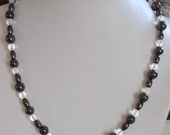 Necklace hematite beads 8mm barrel beads, and 6mm Crystal beads