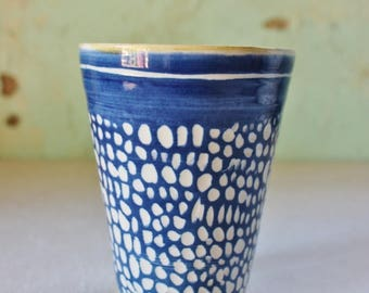 READY TO SHIP Beaker Cup Coffee Ceramic Blue White Shibori Stoneware Australia