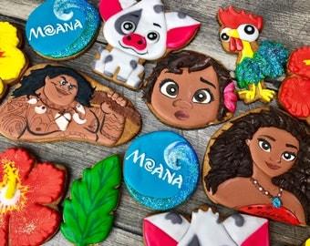 MOANA cookies // Maui cookies, Hawaiian cookies, luau cookies, pua cookies, Disney cookies, Disney party favors , Moana party favors