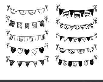 Hand drawn doodle bunting clipart, Black and white flag clip art, Holiday garland clipart, Polka dot birthday banner clipart, commercial use