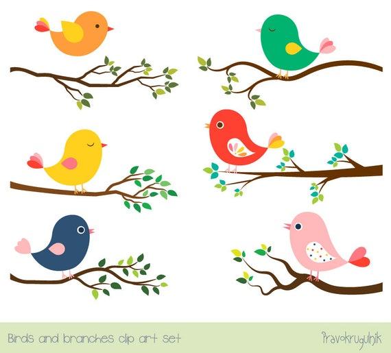 Cute bird clipart set Tree branch clip art Colorful spring