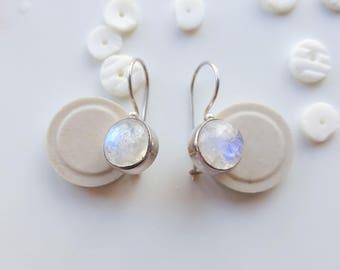 Moon Stone Earrings Round Moon Drops Sterling Earring Organic Earrings Gift For Mother Round Earring Gift For Bride June Birthstone Libra