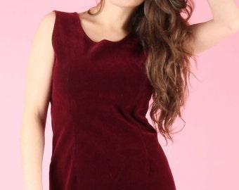 90s Vintage Red Burgundy Velvet Shift Dress