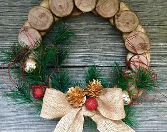 Christmas Wood Slice Wreath. Farmhouse Style