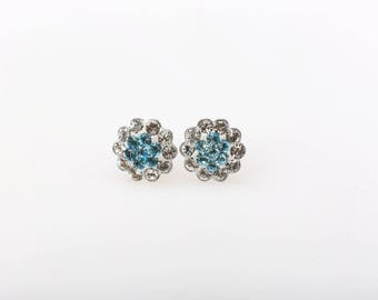 Sterling Silver Pave Radiance Stud Earrings, Swarovsky Crystals, 7mm Flower, Aquamarine Color, Unique BlingBling Korean Style
