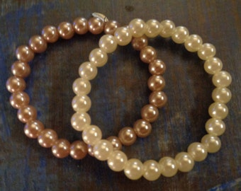 2 bracelets vintage/ Real pearls from Tahiti/90s/1 white and 1 pink/All sizes!