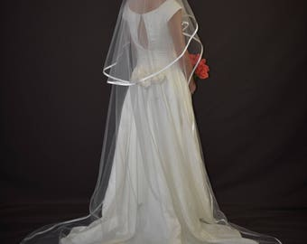 """Two-tier 34""""/108"""" Oval Gather Center Top Cathedral Veil  with 3/8"""" Folded Satin Ribbon Edge"""