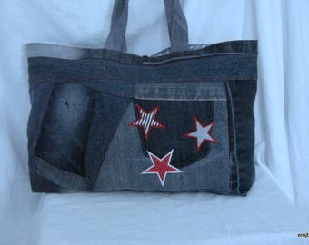 Bag denim embroidered stars