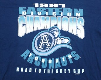 """Vintage 1997 Deadstock Toronto Argonauts CFL """"Road to the Grey Cup"""" Eastern Division Champions t-shirt Made in Canada XL"""