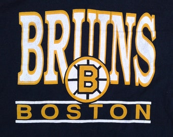 Killer Vintage 80's Boston Bruins t-shirt Made in Canada by Ravens Athletics XL