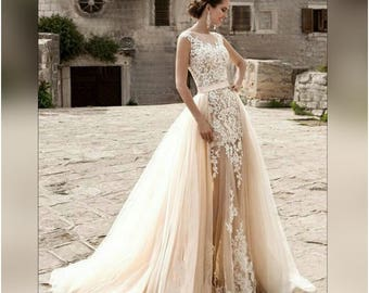 Wedding Dress Light Peach Echo And White Ivory Colors With Detachable Train Tulle