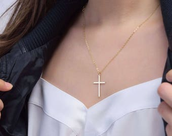 Cross necklace- Gold filled Sterling Silver, long large cross necklace simple, mothers day gift ideas for her mom daughter sister wife CR07