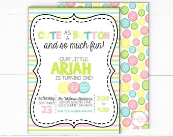 Cute As A Button Invitation -  Button Invitation - First Birthday Invitation - 1st Birthday Invitation - Sew Cute - Digital - Print & Ship