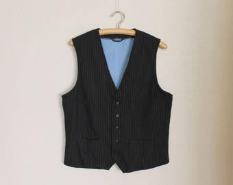 Men's Vest Black Vest Black Striped Mens Vest Gentlemen's Vest Formal Fitted Gentlemen's Waistcoat Edwardian Victorian Steampunk Baroque