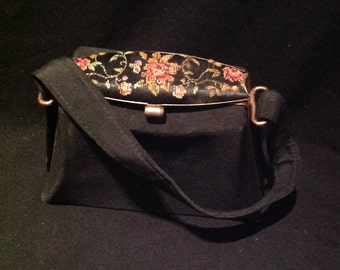 1920s / 30s Small  Ladies Handbag / 20s - 30s Embroidered Top Handle bag - Purse / British made - Golden Age.