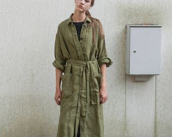 NEW! Olive green linen dress coat for women with pockets, loose linen dress with long sleeves, long linen topcoat, linen robe