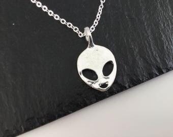 Alien necklace , alien jewellery , extra terrestrial , alien gift , jewelry, alien jewelry , pendant , space , galaxy , spacecraft, cute