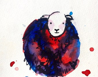 Louise the Sheep. Hand painted greetings card.