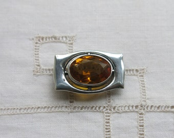 Antique Charles Horner silver and citrine paste brooch 1914