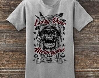 Biker T shirt Lucky Rider Motorcycles Motorcycle Gift, Motorcycle T-Shirt, Motorcycle Clothing, Cafe Racer Biker T-Shirt, Motorcycle Shirts