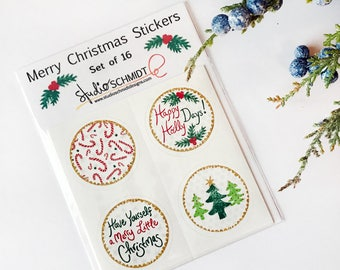 Merry Christmas Stickers, Holiday Sticker Set Christmas Envelope Seals Have Yourself A Merry Little Christmas Card Stickers Stocking Stuffer