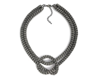 Knot Necklace, Black Silver, Chain Knot Necklace, Minimalistic, Everyday Necklace, Layered Necklace, Chunky Necklace, Gift, B10538NA