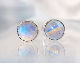 Rainbow Moonstone Stud Earrings, Silver Moonstone Studs, Large Round Studs, Gemstone earrings, Silver Earrings, June Birthstone Jewelry