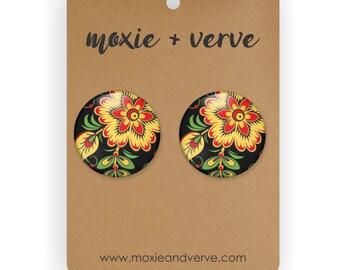 Yellow Floral Earrings, Button Earrings, Russian Jewelry, Russian Folk Art, Stud Earrings, Russian Earrings