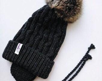 Black Baby merino hat Organic baby clothes Baby reveal box Organic newborn hat Knit earflap hat Merino wool baby hat Woolen hat Crochet ear