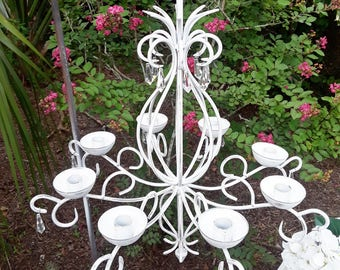 Vintage Candle Chandelier wrought iron. Shabby chic w/ crystals, white distressed farmhouse look. Wedding Reception or Fixer Upper decor.