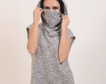 Hooded Sleeveless Tunic, Hooded Sweater