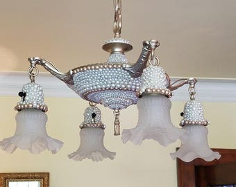 Antique 1920's Pan Chandelier Embellished with Faux Pearl and Swarovski Crystals - Statement piece!