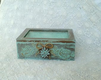 Wooden Jewelry Box, Wooden Trinket Box, Shabby Chic Jewelry Box, Jewelry Storage Box, Shabby Keepsake Box, Cottage Chic Box, Rustic Box