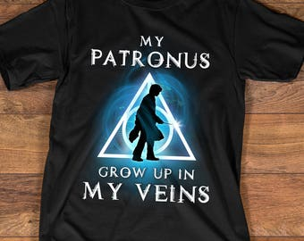 Funny Harry Potter Shirt for Proud Harry Potter Fan, My Patronus Grow Up In My Veins Shirt, Harry Potter T-shirt, Harry Potter Gift, 90003